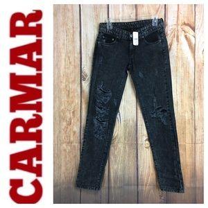 💙NWT CARMAR black distressed straight leg jean